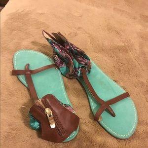 Ann Taylor LOFT Fabric Ankle Sandals